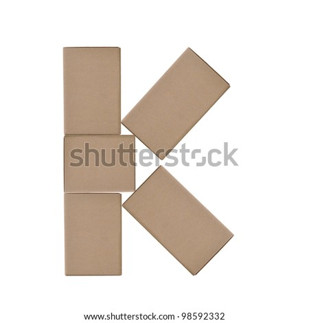 box alphabet letters on white background