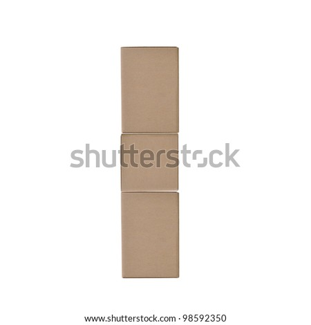 box alphabet letters on white background (I)
