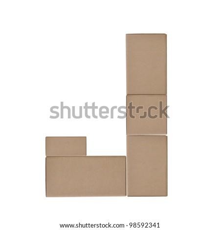 box alphabet letters on white background (J)