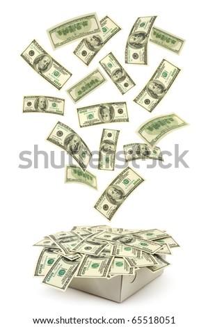 Box and falling money isolated on white background
