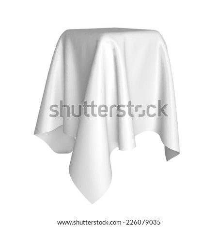 Box covered with cloth. 3d illustration isolated on white background  Stockfoto ©