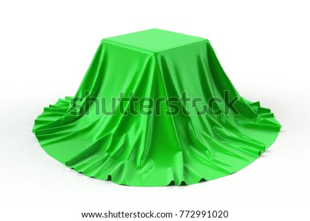 Box covered with green fabric isolated on white background. 3D illustration. Stockfoto ©