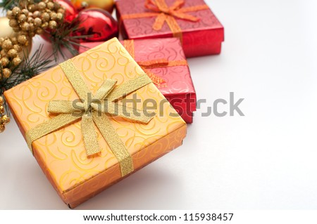 Box for gifts golden and christmas and new year decor copyspace