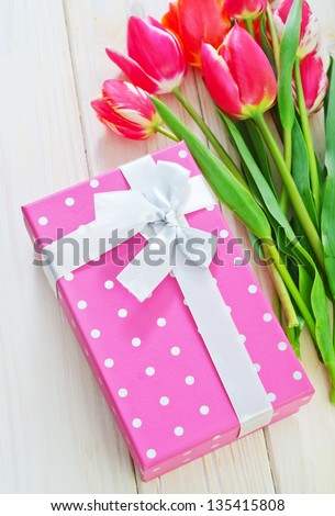 box for present and tulip