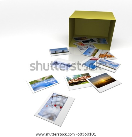 box from Favorite photos arranged on a surface.3D illustration.