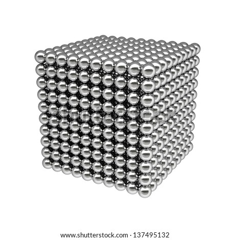 box from silver balls. Isolated on white.