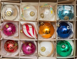box full of christmas balls