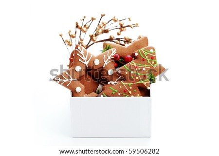 box full of Christmas gingerbreads - sweet food