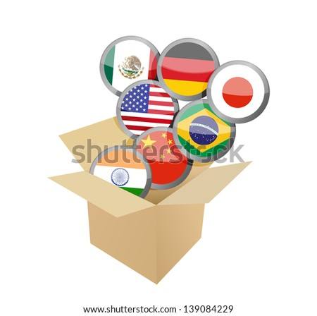 box full of flags. illustration design over a white background