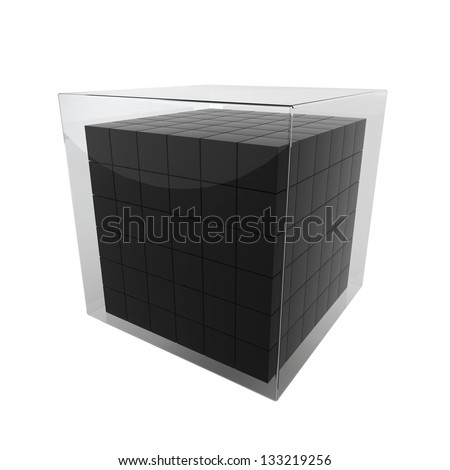 Box group in glass cube. 3d illustration on white background