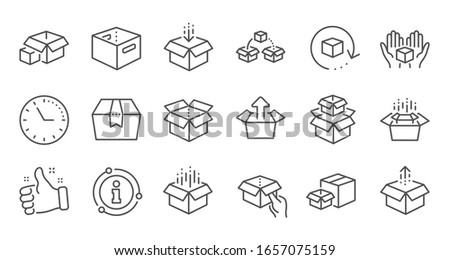 Box line icons. Package, delivery boxes, cargo box. Cargo distribution, export boxes, return parcel icons. Shipment of goods, open package. Linear set. Quality line set.