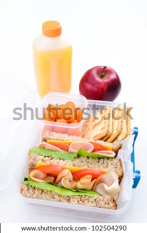Box lunch sandwich for school or busy adults - stock photo