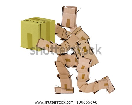 Box man kneeling and giving a gift isolated on a white background