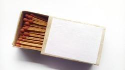 Box matches isolated on white background.