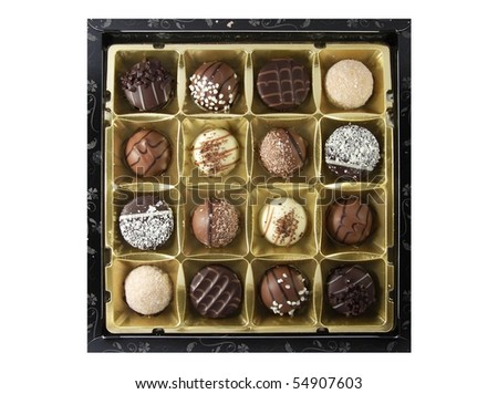 Box of assorted chocolates on white background
