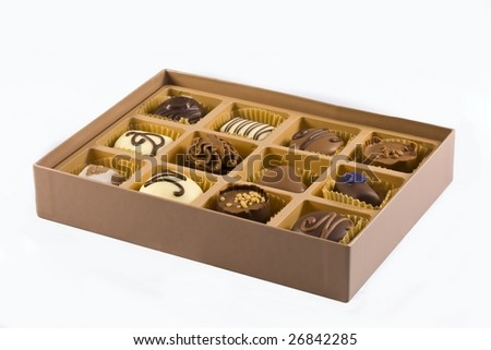 Box of belgian chocolates - stock photo