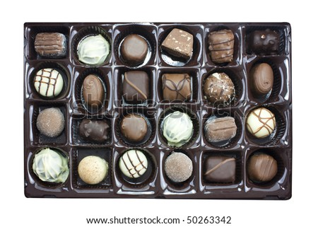 box of chocolates truffles viewed from overhead - stock photo