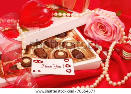 box of  chocolates with love card for Valentine`s day