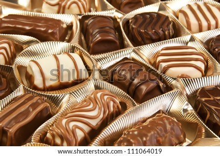 Box of chocolates with many variations