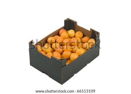 Box of fresh mandarins isolated on white background