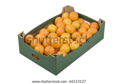 Box of fresh oranges isolated on white background