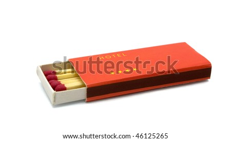 Box of hotel matches isolated on white