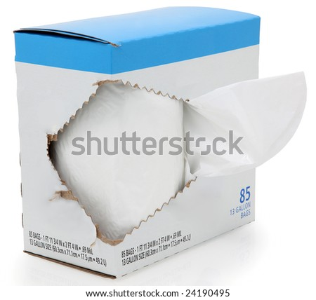 Box of kitchen trash bags with blank label for text