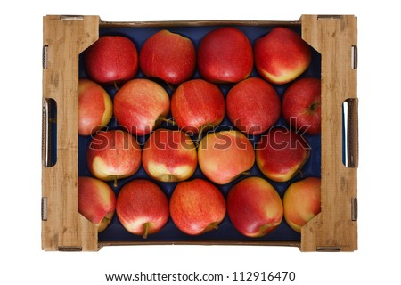 Box of lovely red apples shot from above isolated on white