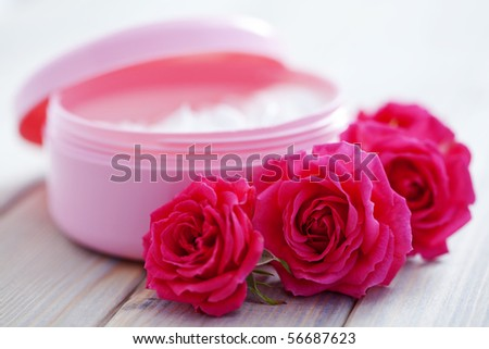 box of luxury face cream with roses - beauty treatment
