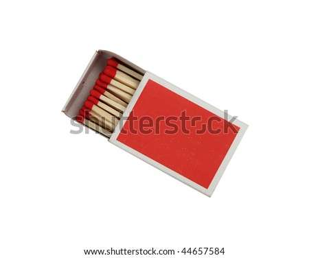 Box of matches with the red head isolated with clipping path