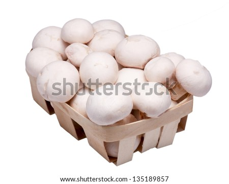box of mushrooms on a white background - stock photo