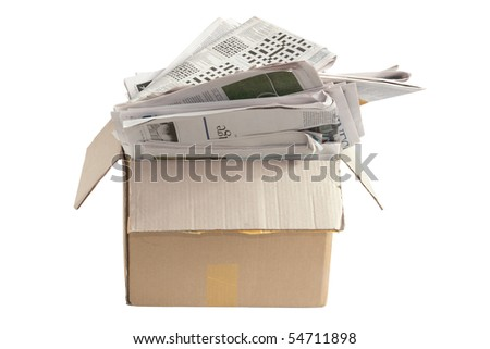 Box of Old Newspapers for Recycle on White Background