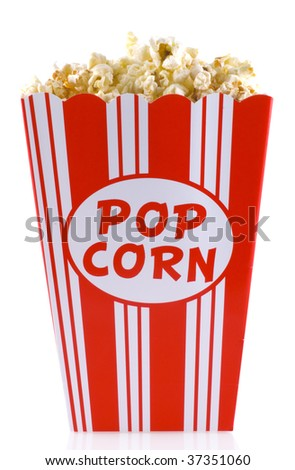 Box of popcorn, isolated on a white background. - stock photo