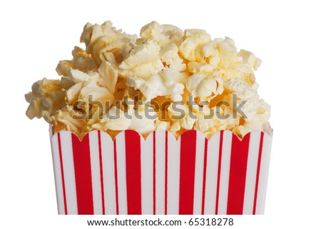 Box of popcorn isolated  on a white background