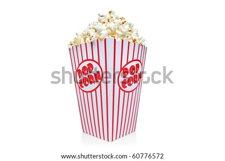 Box of red and white popcorn box isolated against white background