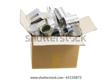 Box of Rubbish for Recycling on White Background