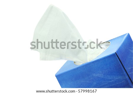 Box of tissue isolated on white with clipping path included.