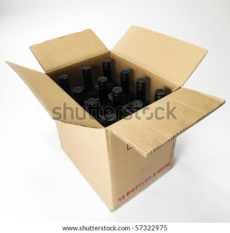 box of wine on the plain background