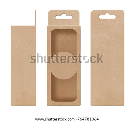 box, packaging, box brown for hanging cut out window open blank template for design product package #764781064