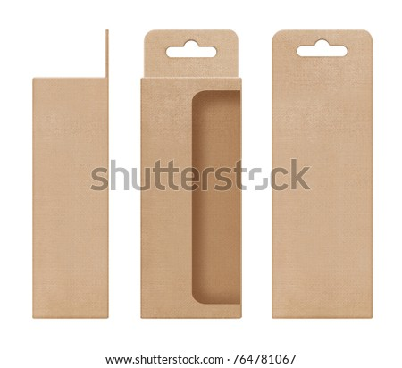 box, packaging, box brown for hanging cut out window open blank template for design product package #764781067