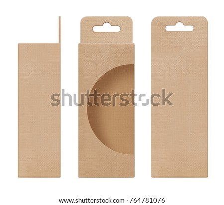 box, packaging, box brown for hanging cut out window open blank template for design product package #764781076