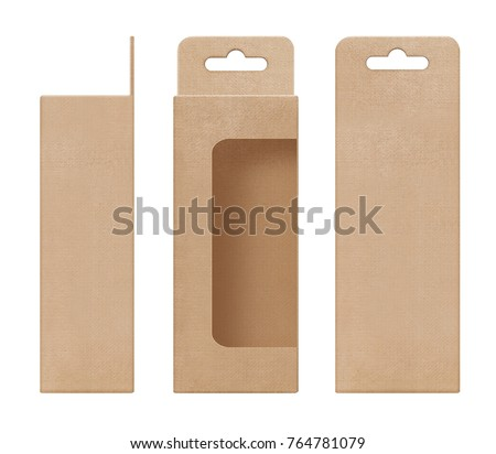 box, packaging, box brown for hanging cut out window open blank template for design product package #764781079