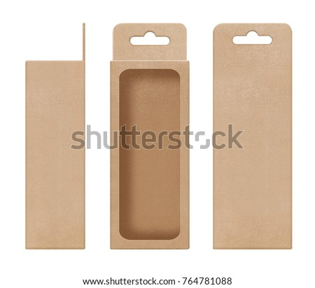 box, packaging, box brown for hanging cut out window open blank template for design product package #764781088