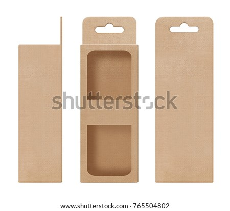 box, packaging, box brown for hanging cut out window open blank template for design product package #765504802