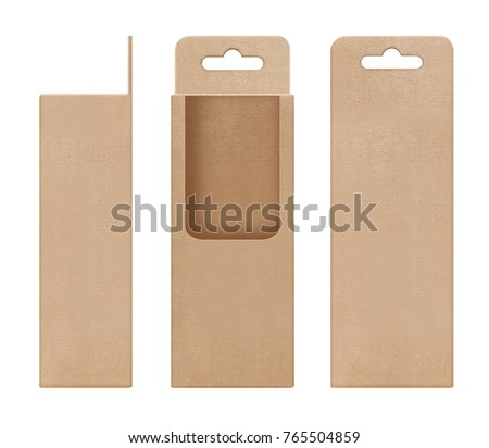 box, packaging, box brown for hanging cut out window open blank template for design product package #765504859