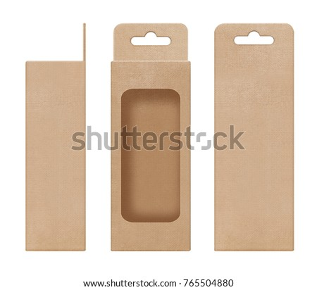 box, packaging, box brown for hanging cut out window open blank template for design product package #765504880