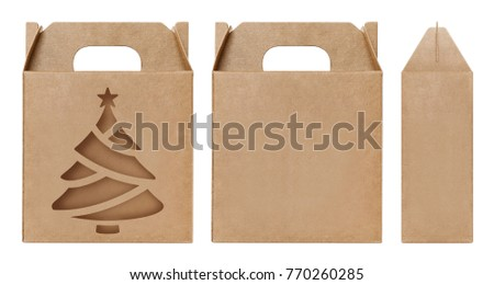 Box, Packaging, Box brown paper materials kraft empty cardboard Christmas tree shaped cut out window open blank, Box template for design product package gift set Christmas and happy new year festival #770260285