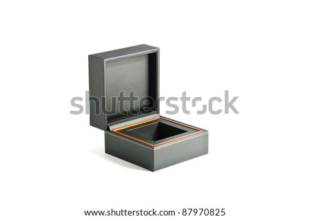 Box pad with black leather on white background - stock photo