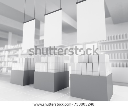 box product display in supermarket. 3D rendering