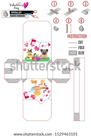 box template for valentines day with lovers animals